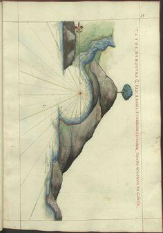 """Cod. 8033 - 16746 - 33 --  João de Castro (1500-1548)  """"Roteiro da costa do norte de Goa, ate Dio, no qual se descrevem todos os portos, alturas, sondas, demarcações, diferenças de agulha que ha em toda esta costa"""". [16--]. BNP Cod. 8033"""