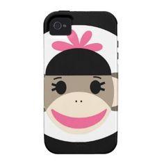 Cute Baby Girl Sock Monkey Black Pink Stripes iPhone 4 Cases