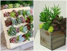 Decoration with succulents in picket vases Wood Vase, Wood Crates, Planting Succulents, Inventions, Embellishments, Delicate, Concept, Create, Plants