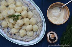 Vegan Pyzy (Polish Potato Dumplings) with Creamy Mushroom Sauce