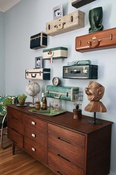 suitcase shelves! Love this! Just hope I can find old suitcases at thrift shops because they r spendy at vintage/antique shops
