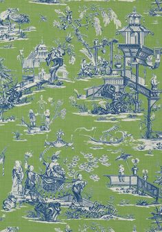 CHENG TOILE, Green and Blue, T75467, Collection Dynasty from Thibaut