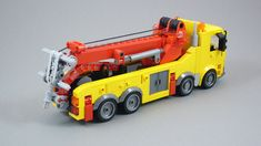 Rotator built last year for Bricking Bavaria. It had some stability issues and now they are solved. Custom printings by Steindrucker. Lego Technic Truck, Lego Truck, Tow Truck, Trucks, Lego Tractor, Lego Construction, Cool Lego Creations, Lego City, Lego Vehicles