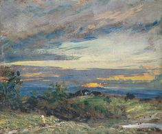 John CONSTABLE | Hampstead Heath, sun setting over Harrow