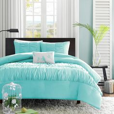 4 Piece Full Queen Light Turquoise Blue Embroidered Wrinkle Pleated Ruffle Ruched Comforter Set Bedding Vogue Fashion Bedspread College Teenager Room Dorm Adult Bedset Pretty Smart Home Marine Aqua Blue Comforter Sets, Duvet Sets, Duvet Cover Sets, Ruffle Comforter, Twin Comforter, Fluffy Comforter, Grey Duvet, Blue Duvet, White Bedding