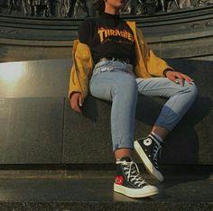Check out this korean fashion Schauen Sie sich diese koreanische Mode Check out this Korean fashion . : Check out this korean fashion Schauen Sie sich diese koreanische Mode Check out this Korean fashion . Skater Girl Outfits, Teen Fashion Outfits, Mode Outfits, Look Fashion, Fasion, Fashion Check, Skater Girl Style, Fashion Edgy, Street Fashion