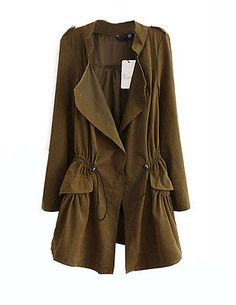 Fashion Womens Ladies Autumn Casual Drawstring Thin Trench Coat - EXCLUSIVE DEAL! BUY NOW ONLY $14.07