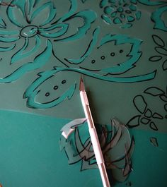 How to make your own stencil from a fabric print... for the floor...