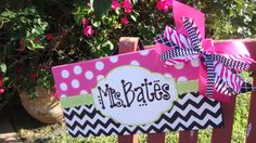 Name Sign on Canvas for a teachers classroom door. Teacher Door Signs, Teacher Doors, Teacher Name Canvas, Craft Gifts, Diy Gifts, Name Paintings, Silhouette Sign, Canvas Hangers, Door Hangers