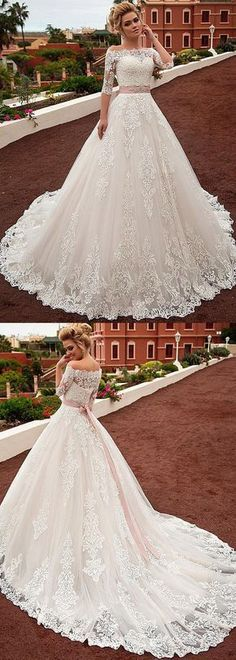 Gorgeous Tulle & Organza Off-the-shoulder Neckline A-line Wedding Dress With Lace Appliques & Belt & Detachable Jacket