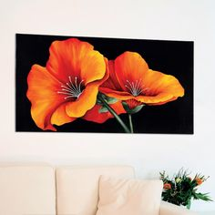 Red Hibiscus Flowers Decorative Painting - Modern picture with rich colours and decorated with silver foil