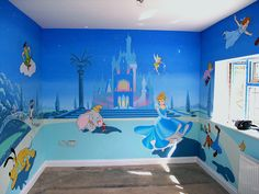 ariel+themed+nursery | Peter Pan Mural, Tinkerbell,Disney Mural,Cinderella,fairy,Princess ...