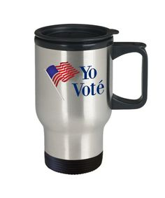 Yo vote travel mug spanish i voted coffee cup gift I Voted, Cold Drinks, Making Out, Travel Mug, Coffee Cups, Drinking, Spanish, Cleaning, Mugs