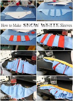 Snow White Shirt Tutorial AKA Grown Ups Can Have Princess Outfits Too - Rae Gun Ramblings Turn any tank into a darling princess shirt. Snow White Shirt Tutorial at Rae Gun Ramblings. Shirt Tutorial, Costume Tutorial, Cosplay Tutorial, Cosplay Diy, Disney Cosplay, Sewing Tutorials, Sewing Projects, Sewing Patterns, Techniques Couture