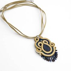 Unique Gemstone Soutache Pendant. Gold Beige and navy blue
