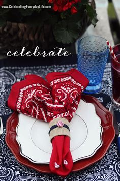 set the table with bandanas for 4th of July