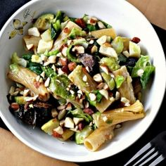 Baked rigatoni with brussels sprouts, figs and blue cheese. Live on the wild side.