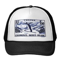 Shirts, clothing, drink ware, iphone, ipod and ipad covers, home accessories featuring an antique 1938 engraved postage stamp depicting a ski jumper in mid flight and issued by France to promote the International Ski Federation (FIS) skiing competition held in Chamonix-Mont-Blanc.  #france, #chamonix, #ski, #postagestamp, #montblanc, #wintersport, #french, #ephemera, #vintage, #alps, ,#downhill, #skijump, #baseballcap