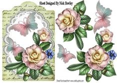 wild pink roses on lace with butterflies and script on Craftsuprint - Add To Basket!