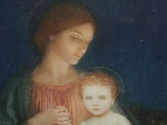 Frank Dicksee Oil Painting Mother and Child. Original 1922, Signed Frank Dicksee