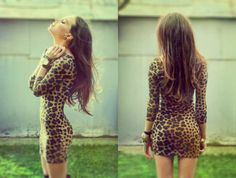 Great leopard dress plus the girl has great curves, looks awesome on her! Sexy Dresses, Cute Dresses, Cute Outfits, Dressy Dresses, Summer Outfits, Party Dresses, Amazing Outfits, Sleeve Dresses, Casual Skirts