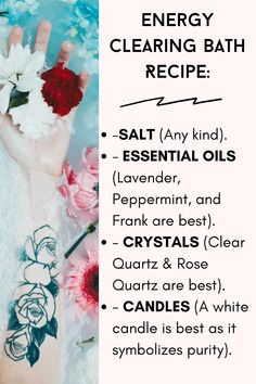 Spiritual Bath, Spiritual Cleansing, Healing, Witch Spell Book, Witchcraft Spell Books, Essential Oil Blends, Essential Oils, Bath Salts Recipe, Bath Recipes