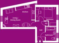 Flat 6, Skylark Apartments - a 1 bedroom apartment on the second floor.
