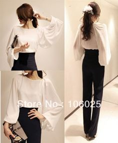 Autumn / Fall 2013 New arrival Formal / Office style Pullover Long Puff sleeve Chiffon blouses for women Free shipping $12.63