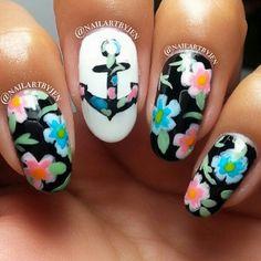Anchor + Floral #Nailart