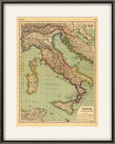 Italian map print map vintage old maps by VictorianWallDecor
