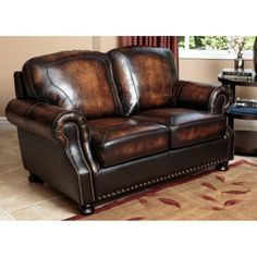Abbyson Tannington Top Grain Leather Loveseat - Brown | Hayneedle Leather Reclining Sofa, Leather Loveseat, Leather Chairs, Genuine Leather Sofa, Sectional Sofa With Recliner, Couch, Restaurant Chairs For Sale, Western Furniture, Home Furniture