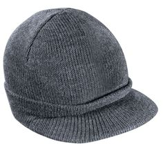 60659783e6a Fitted knit hat with rounded edge brim Knit Beanie