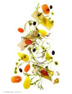 Greek Salad--grape tomatoes, thinly sliced feta, kalamata olives microgreens, olive oil, parsley, lemon juice..in blender until smooth, the olive oil, parsley, lemon juice. Drizzle over salad with salt and pepper.