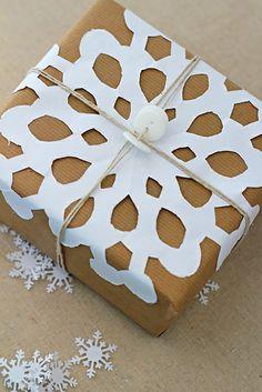 Snowflake gift-wrapping idea.