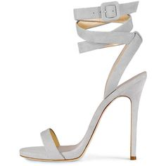 Giuseppe Zanotti For Jennifer Lopez Alien Suede Ankle-Wrap 120mm... ($795) ❤ liked on Polyvore featuring shoes, sandals, heels, sapatos, grey, grey strappy sandals, strappy heeled sandals, grey sandals, heeled sandals and wrap sandals