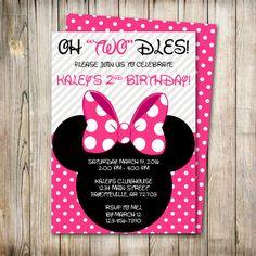 Minnie Mouse Birthday Invitation Oh Twodles Invite Mickey Disney Printable 5x7