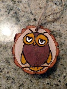 Rustic Owl wood burned Christmas ornament - natural wood