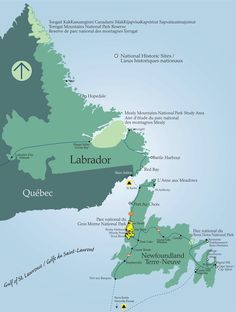Map of Newfoundland and Labrador showing the location of Gros Morne National Park Newfoundland Canada, Newfoundland And Labrador, National Parks Map, Parc National, Happy Valley Goose Bay, East Coast Canada, Gros Morne, Wedding Card Quotes, Parks Canada