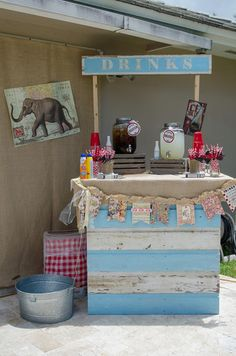 Drink station at a Vintage Carnival Party via Kara's Party Ideas |would make a cute cupcake stand too