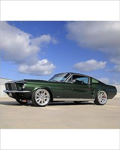 Inch Print - High quality print (other products available) - Ford Mustang Fastback 1967 Green metallic - Image supplied by Car Photo Library - Photo Print made in the USA Ford Mustang Gt, Mustang Club, Ford Svt, 1973 Mustang, Truck Paint Jobs, Green Mustang, Vintage Mustang, Cute Cars, Car Photos