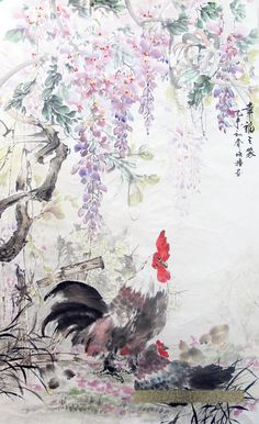 Wisteria Valiant Rooster watercolor painting by CustomMadePainting