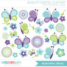 BLUE BUTTERFLIES Clipart and Digital Paper Set: Spring butterflies in blue / green / purple with flowers, polka dots, digital papers --------------------------------------------------------------------------------------- ► Similar Items Available Here: http://etsy.me/1lzxuzv ---------------------------------------------------------------------------------------  ➽ WHAT YOU GET: Clipart: - PNG (300 dpi) with transparent backgrounds - VECTOR/EPS (Illustrator v.10) ...