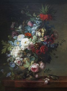 Vase de fleurs sur une table de pierre avec un nid & un verdier by Cornelis van Spaendonck