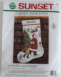 Christmas Stocking Kit Cross Stitch Skating With Santa Counted Sunset 1991 Aida…