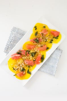 Golden Beet and Grapefruit Mint Salad with Crushed Walnuts