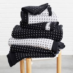 p/stitch-black-white-washcloth - The world's most private search engine Black And White Towels, White Hand Towels, Black White, Bathroom Towel Decor, Bathroom Styling, Bathroom Ideas, Camping Must Haves, Black Bath, Dorm Essentials