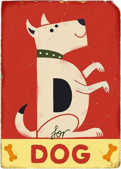 Amazing Alphabet Illustrations by Paul Thurlby Alphabet Cards, Alphabet Print, Alphabet Soup, Animal Alphabet, Dog Illustration, Graphic Design Illustration, Pet Shop, D Is For Dog, Dog Poster