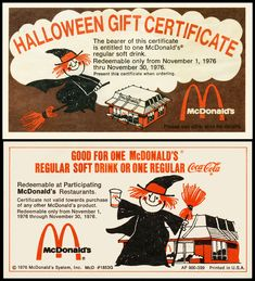 1976 McDonald's Coupon.  I remember an orange shake at Halloween at McDonald's back in the day - anyone else remember that?
