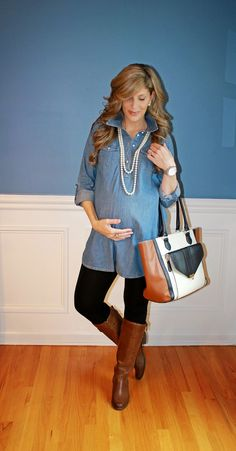 This maternity outfit is well put together and looks comfy. .