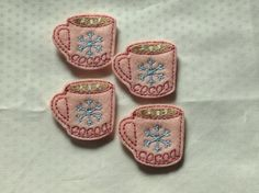 HOT COCOA Felt Embellishments / Appliques - Set Of 4 - Ready To Ship by CreationsByKG on Etsy